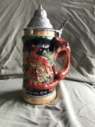 German Hand Painted Beer Stein With Dbgm Pewter Lid Copyright Mr 722 Germany--