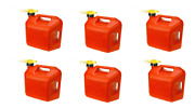 Lot Of 6 No-spill 1450 5-gallon Poly Gas Can Carb Compliant Red 5 Gal