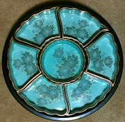 1950's Hand Painted Kutani Lazy Susan Dip N Chip Snack Party Blue Bowls