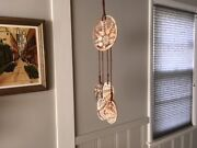 Vintage Bohemian/Mid Century Modern Hand made pottery art Wind Chime/jute