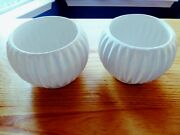 Set of TWO Vintage White  California Pottery Small Retro Flower Pots Planters