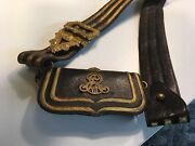 English British Military Officer's Cartouche Cartridge Cross Belt Pouch And Belt