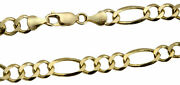Authentic 14k Solid Yellow Gold 6.7mm Figaro Link Chain Necklace Sz 20-30