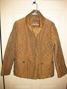 Dismero Sz 8 Quilted Copper Brown Sheen Convertable Funnel Collar Jacket Nwot