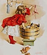 Ivory Girl Vtg Tin Metal Ad Sign Picture Poster Laundry Bath Room Soap Doll Gift