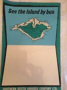 British Rail Train Travel Poster Blue Isle Of Wight Bus Southern Vectis