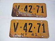 Pair 1941 New York Car Auto Truck License Plates Yellow/black Letters V-42-71