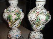 Antique/vintage Pair Of Porcelain Capodimonte Table Lamps 24and039and039 Tall Signed Lamps