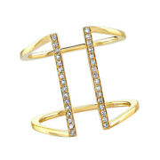 Simulated Diamond Double Bar Band Ring Solid 14k Yellow Gold