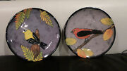 Lot of 2 Rainbow Gate Studio Art Pottery Santa Fe Plates, Birds, Dated