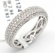 14k White Gold Vs1-si10.93tcw Pave Diamond Engagement 5mm Eternity Band Ring 5
