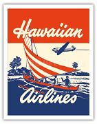 Hawaiian Airlines Outrigger Canoe - Vintage Airline Travel Poster Fine Art Print