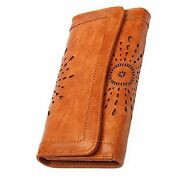 Women's Lady Leather Wallet Purse Credit Card Clutch Holder Long Wallets Brown