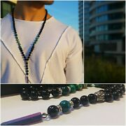 Men Long Beaded Necklaces With Green Stone Pendant, Mala Chain. Gift For Men