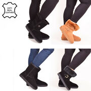 Ladies Womens Leather Real Sheepskin Winter Boots Warm Bailey Button Shoes Size