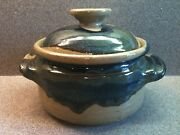 VINTAGE ARTIST SIGNED STUDIO POTTERY ART POT WITH LID DRIP GLAZE