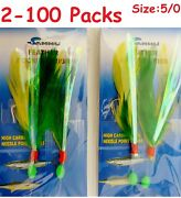 2 -100 Packs 5/0 Rock Cod Feather Rigs Green/yellow Rockfish Bait