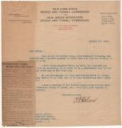 1920 - Holland Tunnel Letter Signed By Clifford M. Holland Its Chief Engineer