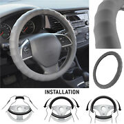 Genuine Leather Steering Wheel Cover For Car Suv Truck Small 13.5-14.5 Gray
