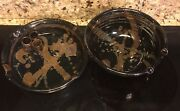 Handmade Hand Decorated Stoneware Art (2) Bowls by Kansas Artist Barry Jepson