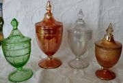 Art Glass 4 Distinct Style Gorgeous Pedestal Lidded Bud's/candy/nut/fruit Dishes