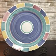 "Caleca Color Blocks Large 16"" Platter Chop Plate Tray Italian Pottery Round"