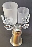 Jagermeister Stag Deer Pewter Shot Glass 3.5 Tall And 2 Frosted Shot Glasses