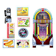 1950s Sock Hop Grease Party Decoration Soda Shop Diner Signs And Jukebox Props