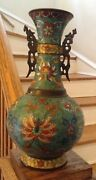 Rare Antique Qing Dynasty 18th Century Chinese Cloisonne Vase On Bronze