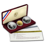 1983 And 1984 3-coin Commem Olympic Proof Set W/box And Coa - Sku 7169