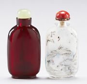 Antique Pair Snuff Bottles Chinese China Qing Dynasty Porcelain