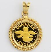Pure 24kt .9999 Gold Guardian Angel Coin In 14kt Gold Twisted Wire Rope Pendant