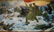 Russian Ukrainian Soviet Oil Painting Military Soldier Fight Army Ww2 Flag 1969y