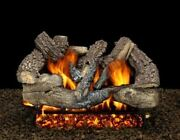 30 Seville Charred Logs With Double Manual Safety Pilot Burner Tube - Lp