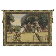 Peacock Manor With Acanthe Border Belgian Tapestry Wall Hanging H 64 X W 86