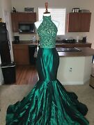 Sherri Hill Couture Emerald Pageant Gown 2017 Fall Trunk Show Style 44333