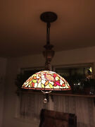 Stained Glass Hanging Light Style Ceiling Lamp Fixture Indoor 2 Bulbs