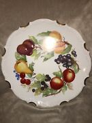 "Vintage Hand Painted Large 17"" Round Platter Cream Fruit Grapes Apples Pears"