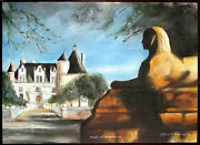Alfred Huber Original Oil On Stretched Canvas Chateau Chenonceaux Signed