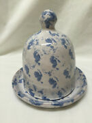 Vintage Bybee Spongware Pottery Cheese Plate With Lid