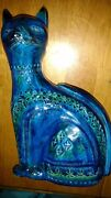 "Rimini blue pottery cat mid century signed piece 10.6"" tall"