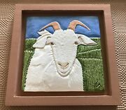 """Ceramic Portrait of Snowy - 7.5"""" Tile in 10"""" Frame - Goats with Horns Sanctuary"""