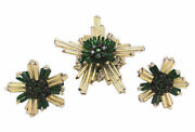 Deco Star Brooch Pin Earrings Gold Green Christmas Ornament Glass Early 1900's