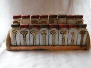 Vintage Griffith Milk Glass Spice Jars With Rack 16 With Red Tops