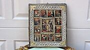 Antique 18c Russian Hand Chased Oklad Wood Icon Depicts The Resurrection