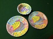Vintage Modern Art Ceramic Hand Painted Pottery - Italy - 2 plates 1 bowl