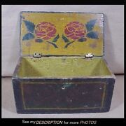 Antique Primitive Small Document Box Green With Floral Decoration