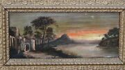 Antique 19c French Old Master Oil On Canvas A Castle Near Water By G.salvi.