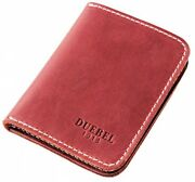 Bifold Slim Leather Thin Minimalist Front Pocket Wallet Full Grain Leather Red