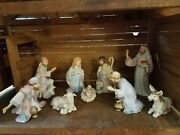 Rare 1987 Hand-painted Lefton Christopher Collection China 10-piece Nativity Set